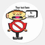 Stop! Red Warning Sign Round Sticker
