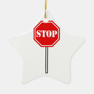 STOP RED WHITE WARNING SIGN HEXAGON SHAPE GRAPHIC CERAMIC ORNAMENT
