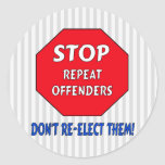 Stop Repeat Offenders Round Stickers