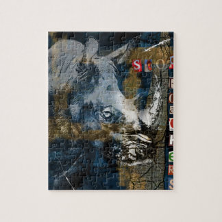 Stop Rhino Poachers Wildlife Conservation Art Jigsaw Puzzle