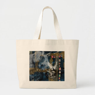 Stop Rhino Poachers Wildlife Conservation Art Large Tote Bag