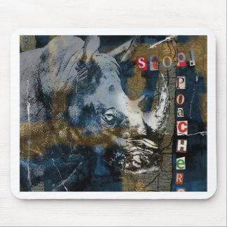 Stop Rhino Poachers Wildlife Conservation Art Mouse Pad