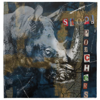 Stop Rhino Poachers Wildlife Conservation Art Napkin