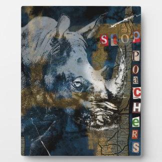 Stop Rhino Poachers Wildlife Conservation Art Plaque