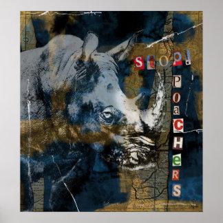Stop Rhino Poachers Wildlife Conservation Art Poster