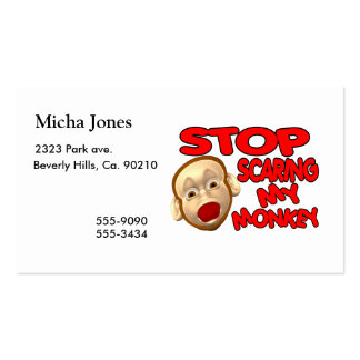 Stop Scaring My Monkey Business Card Template