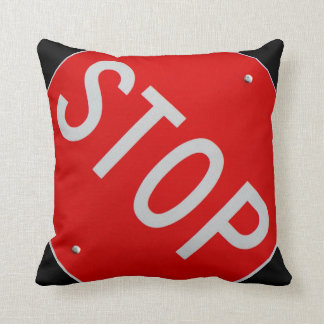 Stop Sign Black / Red and White Throw Pillow