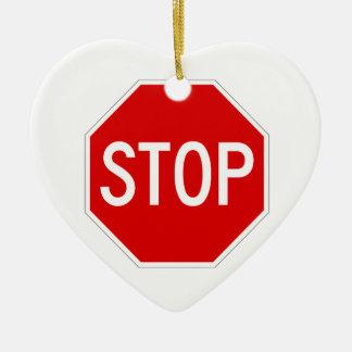 Stop sign ceramic ornament