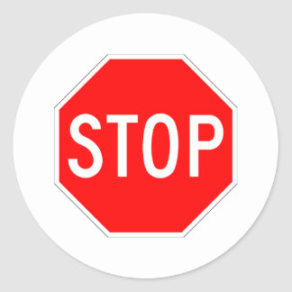 Stop Sign Customizable Round Sticker