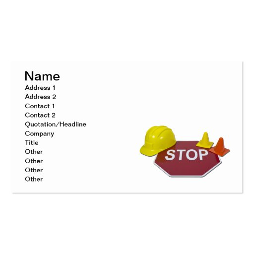 Stop Sign Hard Hat Business Cards