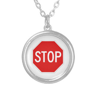 Stop sign silver plated necklace
