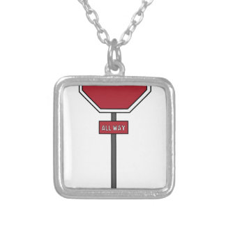 Stop Sign Square Pendant Necklace