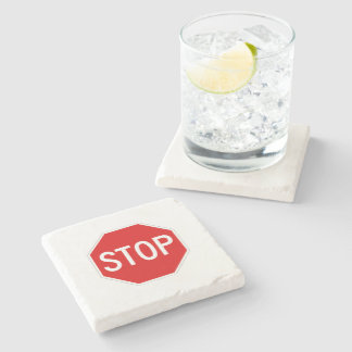 Stop sign stone coaster