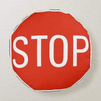 Stop Sign Warning Round Cushion