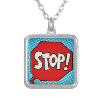 Stop Silver Plated Necklace