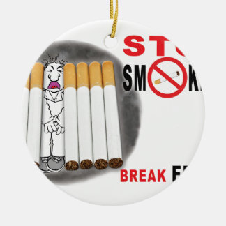Stop Smoking Reminders - No More Butts Ceramic Ornament