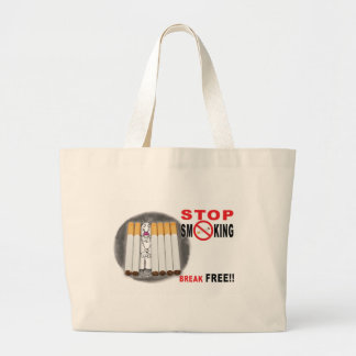 Stop Smoking Reminders - No More Butts Large Tote Bag