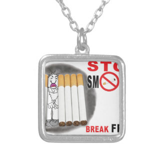 Stop Smoking Reminders - No More Butts Silver Plated Necklace