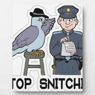 stop snitching pigeon plaque