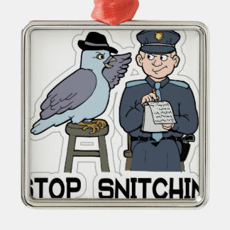 stop snitching pigeon Silver-Colored square decoration