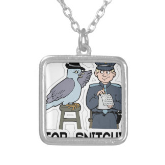 stop snitching pigeon silver plated necklace