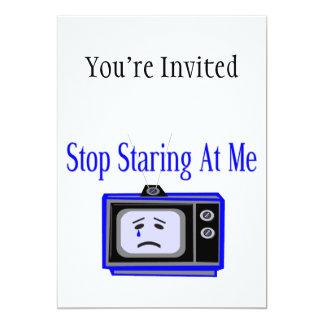 Stop Staring At Me Television Set 5x7 Paper Invitation Card