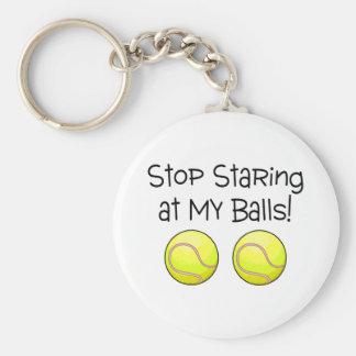 Stop Staring At My Balls (Tennis Balls) Basic Round Button Key Ring