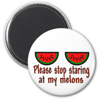 Stop Staring At My Melons Line 6 Cm Round Magnet