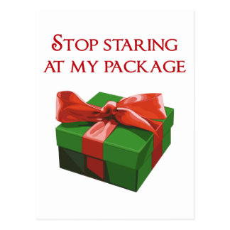 Stop Staring at my Package Christmas Present Postcard