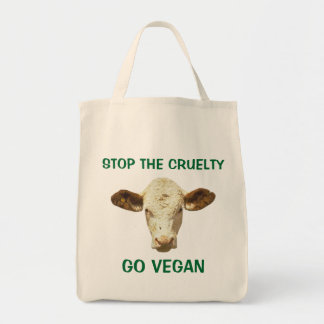 STOP THE CRUELTY GO VEGAN GROCERY BAG