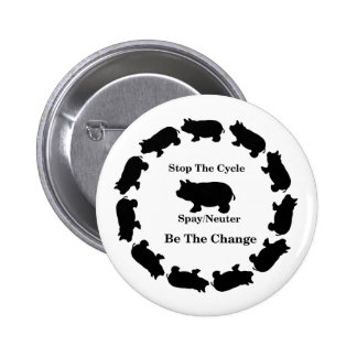 Stop The Cycle, Be The Change, Spay/Neuter 6 Cm Round Badge
