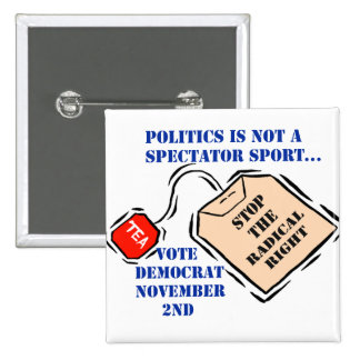 STOP THE RADICAL RIGHT PINBACK BUTTONS