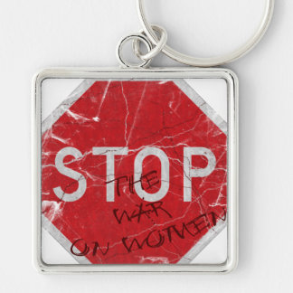 Stop the War on Women Silver-Colored Square Key Ring