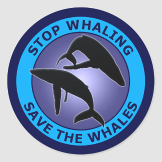 STOP THE WHALING SAVE THE WHALES CLASSIC ROUND STICKER