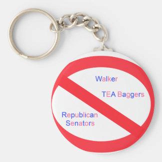 Stop Walker Basic Round Button Key Ring