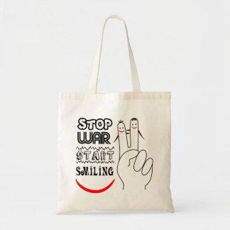 Stop War Big Smile Two Finger Peace Symbol Budget Tote Bag