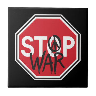 Stop War Small Square Tile