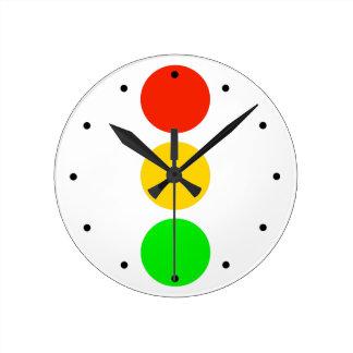Stoplight Colors Round Clock