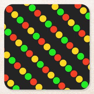 Stoplight Colors Square Paper Coaster