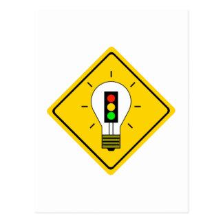 Stoplight Lightbulb Ahead Postcard