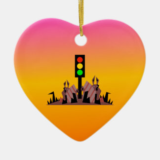 Stoplight with Bunnies, Dreamy Background Ceramic Ornament