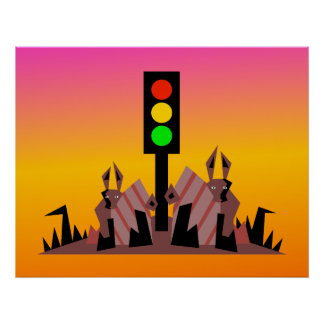 Stoplight with Bunnies, Dreamy Background Poster