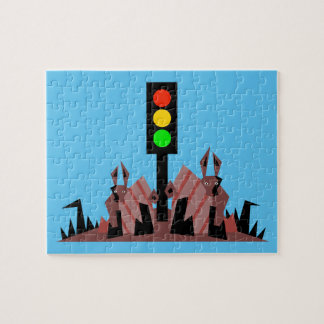 Stoplight with Bunnies Jigsaw Puzzle
