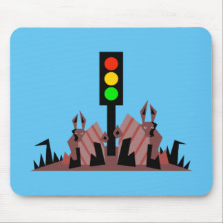 Stoplight with Bunnies Mouse Pad