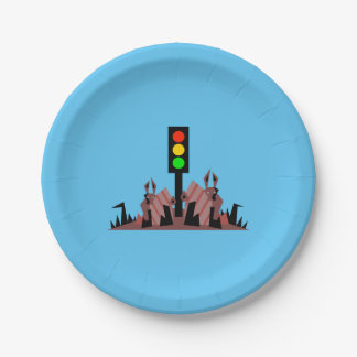 Stoplight with Bunnies Paper Plate