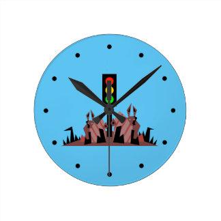 Stoplight with Bunnies Round Clock