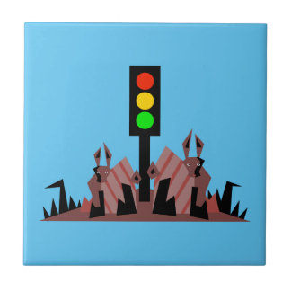 Stoplight with Bunnies Small Square Tile