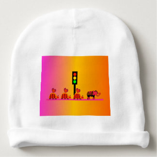 Stoplight with Heart Caravan, Dreamy Background Baby Beanie