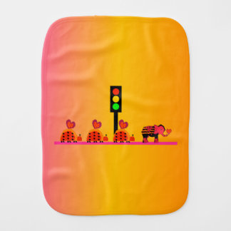 Stoplight with Heart Caravan, Dreamy Background Burp Cloth