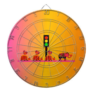 Stoplight with Heart Caravan, Dreamy Background Dartboard